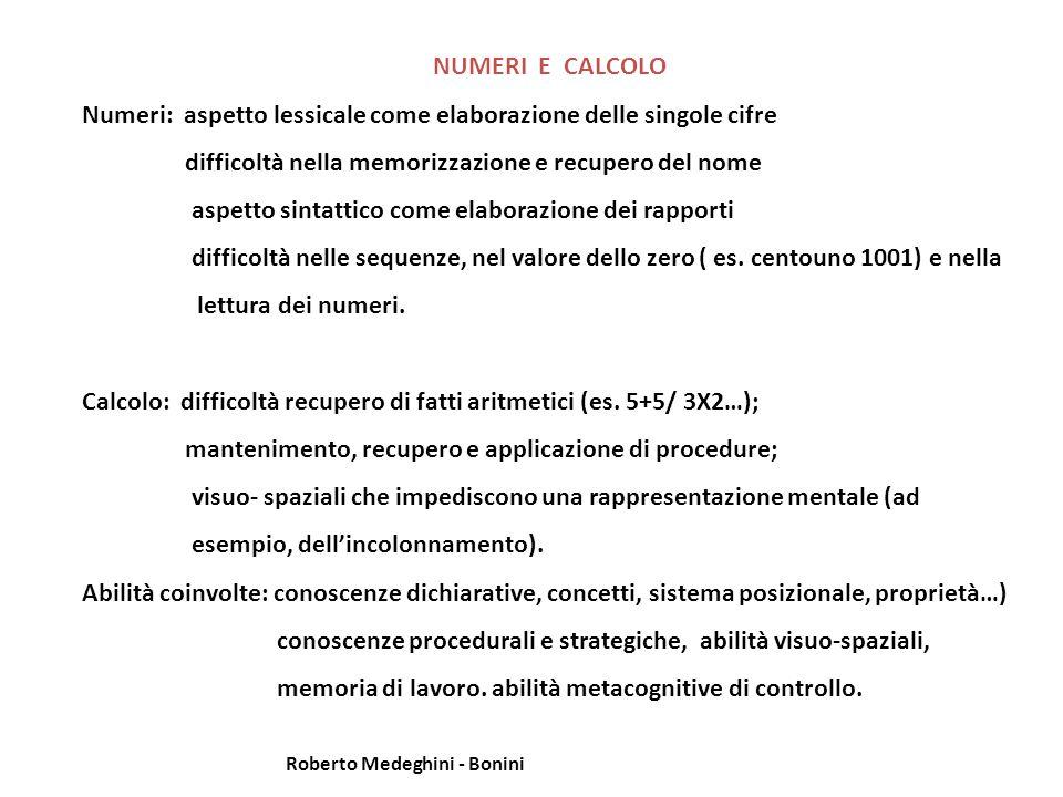 Numeri: aspetto lessicale come elaborazione delle singole cifre
