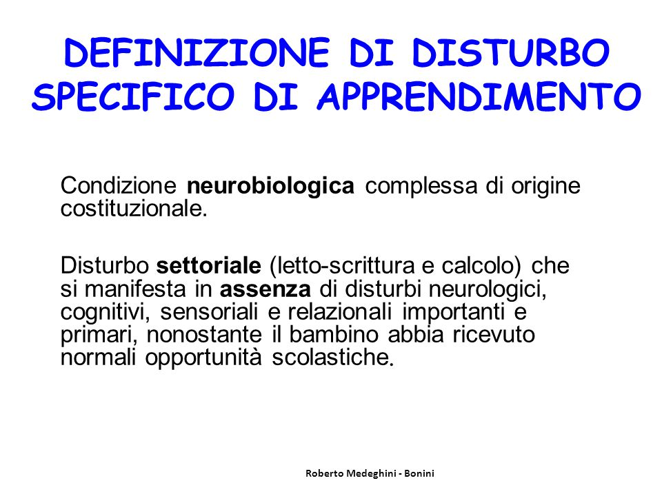 DEFINIZIONE DI DISTURBO SPECIFICO DI APPRENDIMENTO