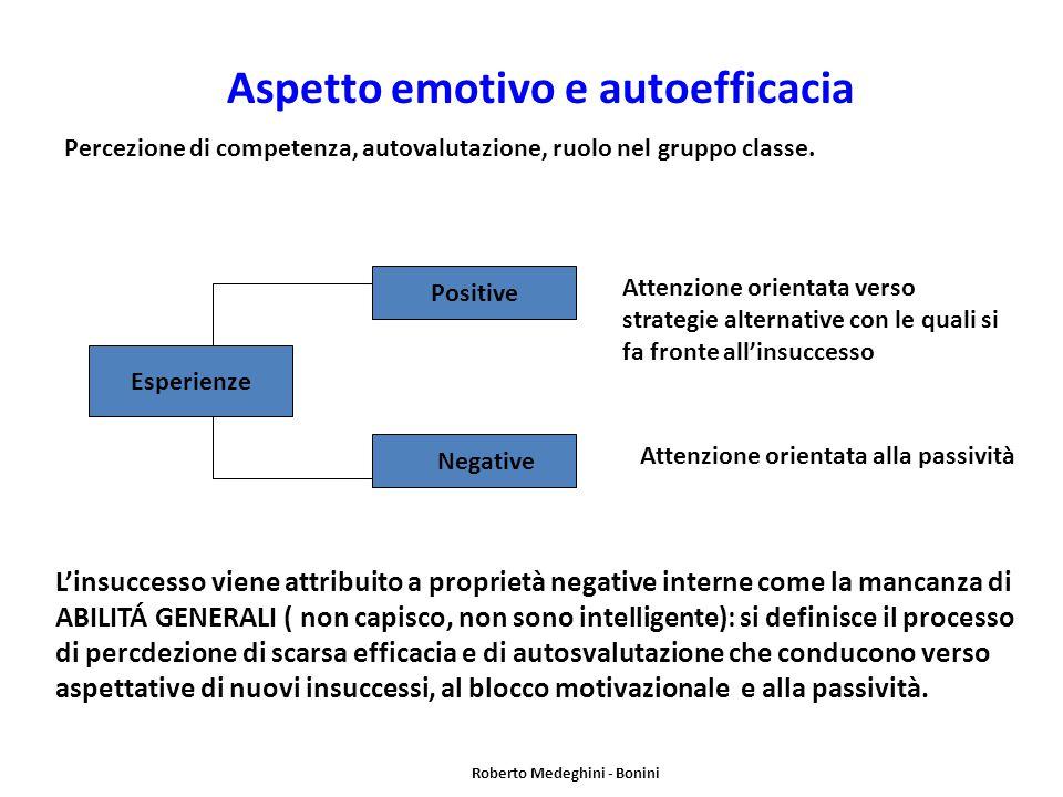 Aspetto emotivo e autoefficacia Roberto Medeghini - Bonini