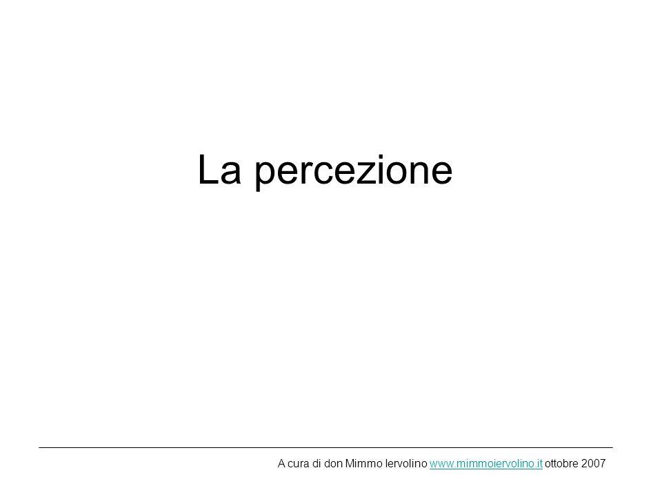 La percezione A cura di don Mimmo Iervolino www.mimmoiervolino.it ottobre 2007