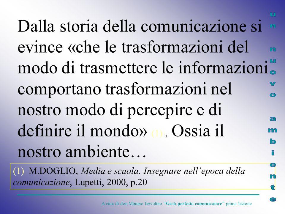 Dalla storia della comunicazione si evince «che le trasformazioni del modo di trasmettere le informazioni comportano trasformazioni nel nostro modo di percepire e di definire il mondo» (1) , Ossia il nostro ambiente…
