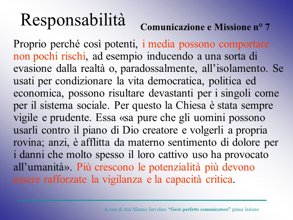 Responsabilità Comunicazione e Missione n° 7.