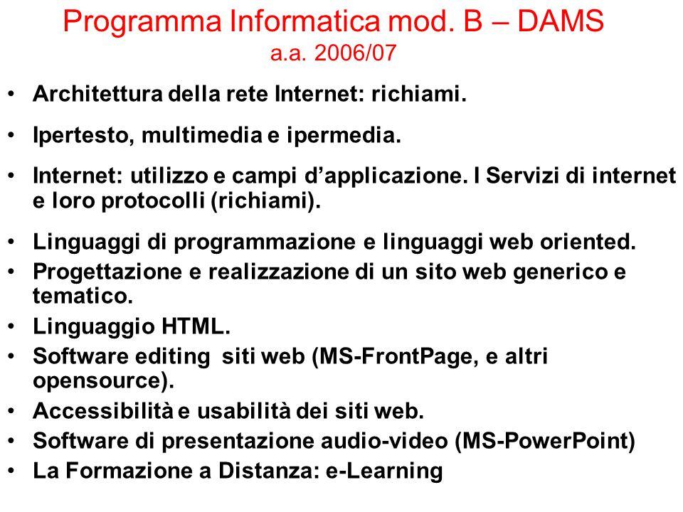 Programma Informatica mod. B – DAMS a.a. 2006/07