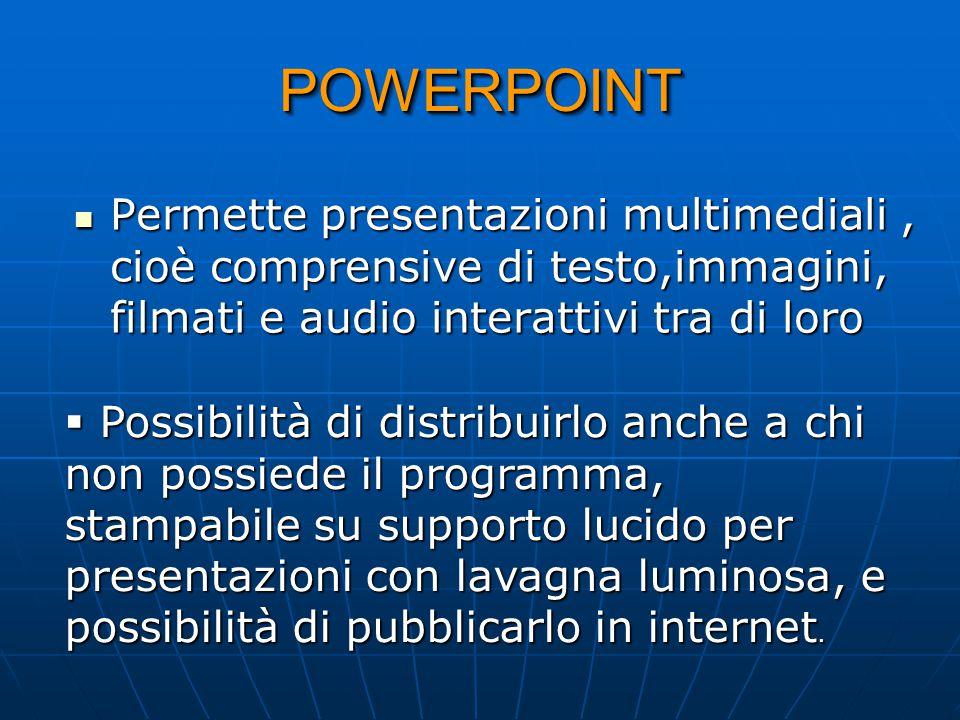 POWERPOINT Permette presentazioni multimediali , cioè comprensive di testo,immagini, filmati e audio interattivi tra di loro.