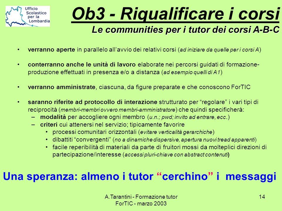 A.Tarantini - Formazione tutor ForTIC - marzo 2003