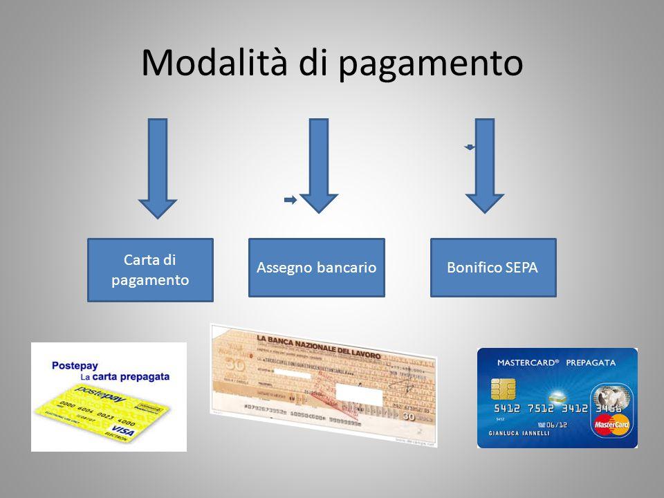 Modalità di pagamento Carta di pagamento Assegno bancario