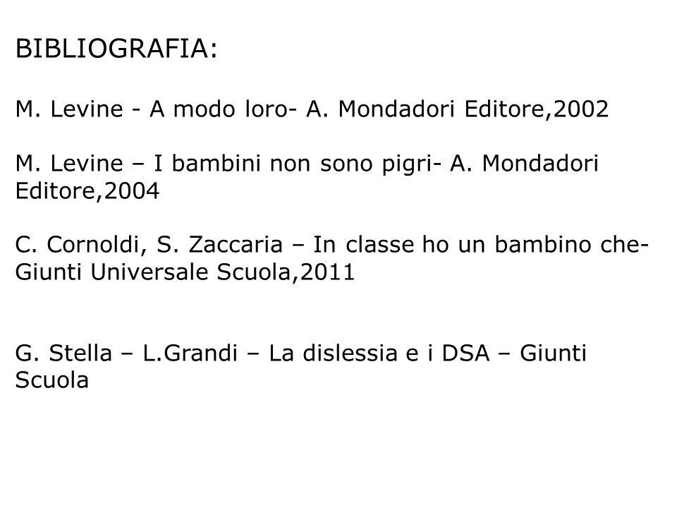 BIBLIOGRAFIA: M. Levine - A modo loro- A. Mondadori Editore,2002