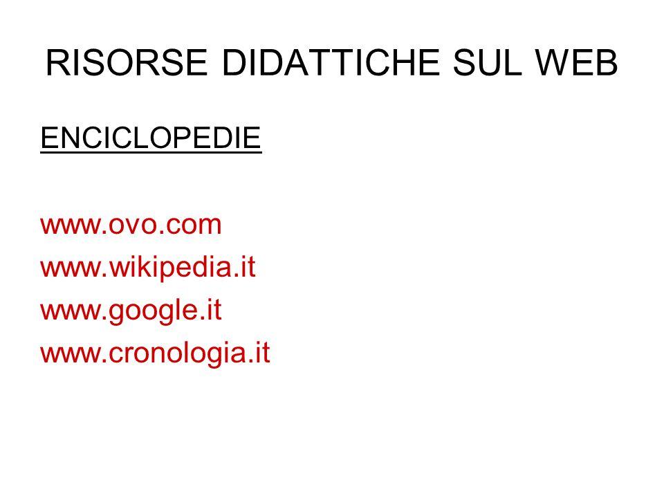 RISORSE DIDATTICHE SUL WEB