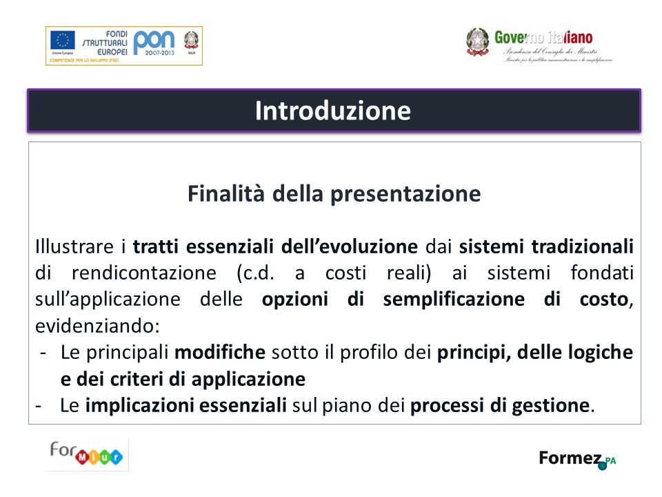 Finalità della presentazione