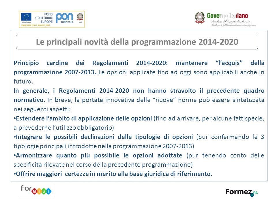 Le principali novità della programmazione 2014-2020