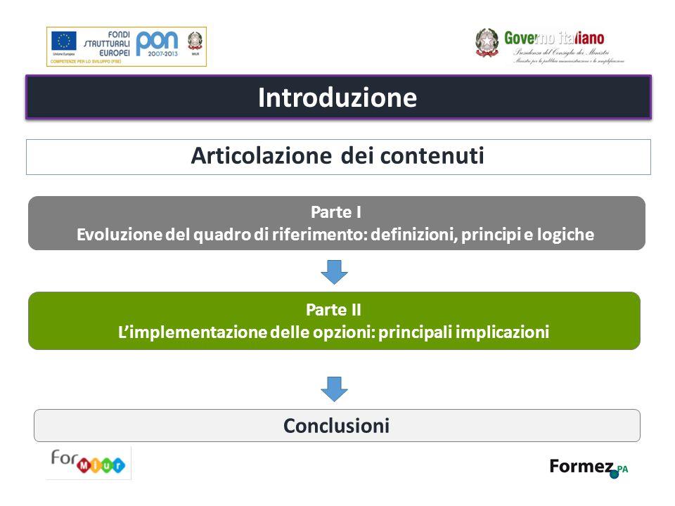 Introduzione Articolazione dei contenuti Conclusioni Parte I