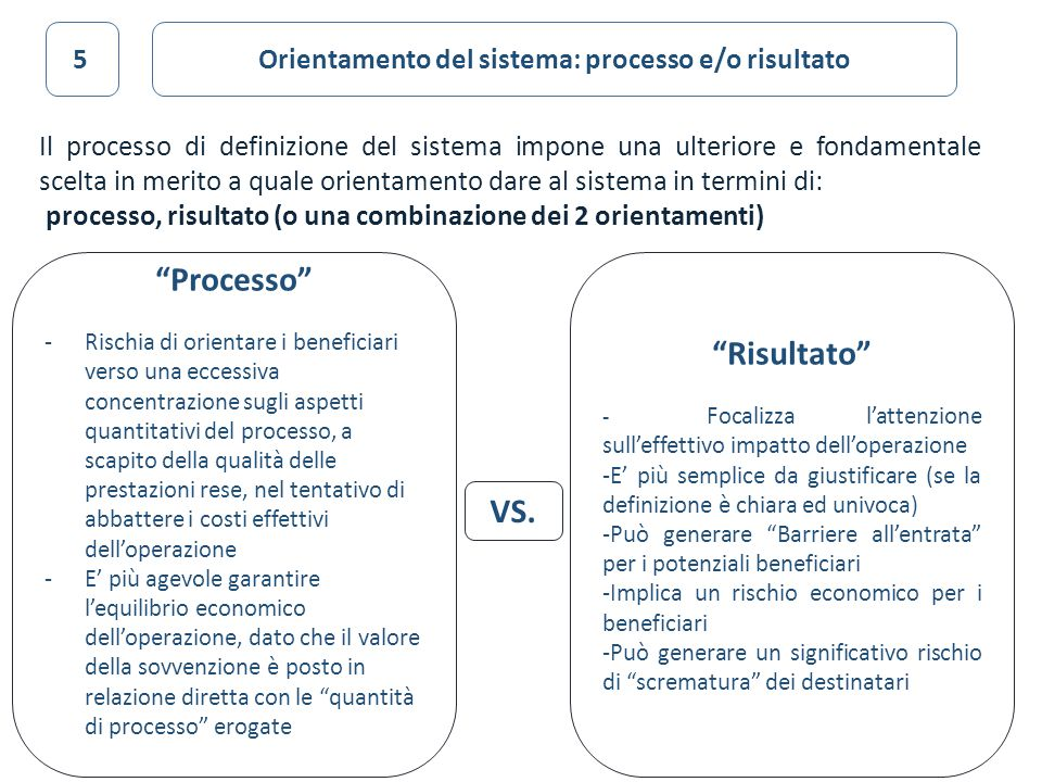 Orientamento del sistema: processo e/o risultato