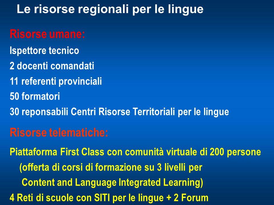 Le risorse regionali per le lingue
