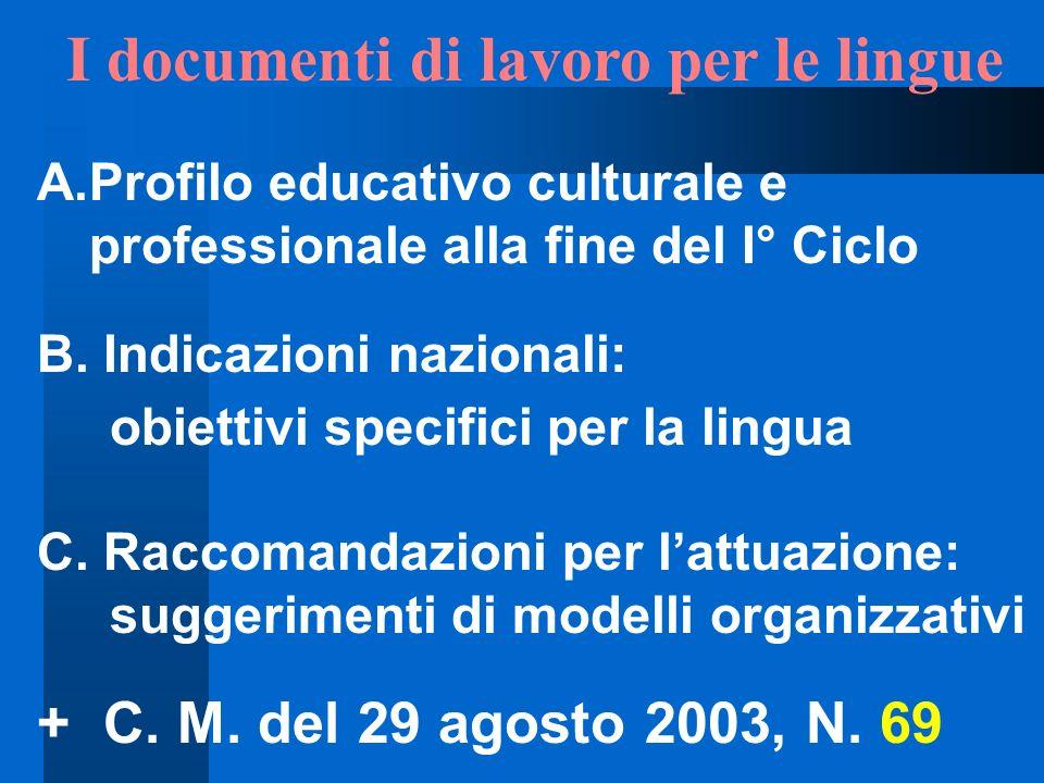 I documenti di lavoro per le lingue