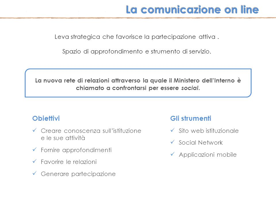 La comunicazione on line
