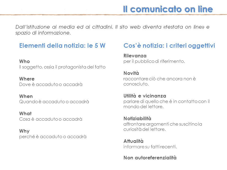 Il comunicato on line Elementi della notizia: le 5 W