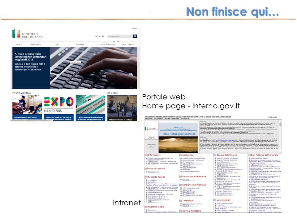 Non finisce qui… Portale web Home page - Interno.gov.it Intranet