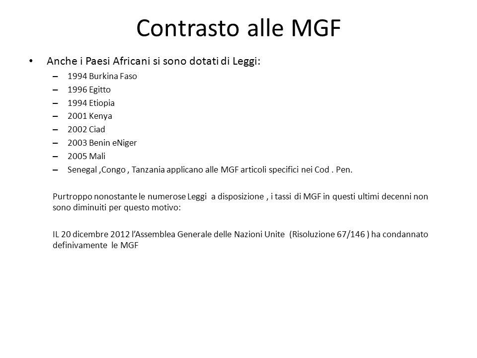 Contrasto alle MGF Anche i Paesi Africani si sono dotati di Leggi: