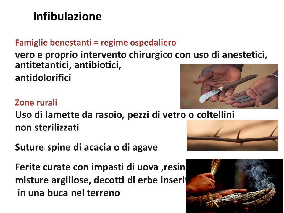 Infibulazione Famiglie benestanti = regime ospedaliero. vero e proprio intervento chirurgico con uso di anestetici, antitetantici, antibiotici,