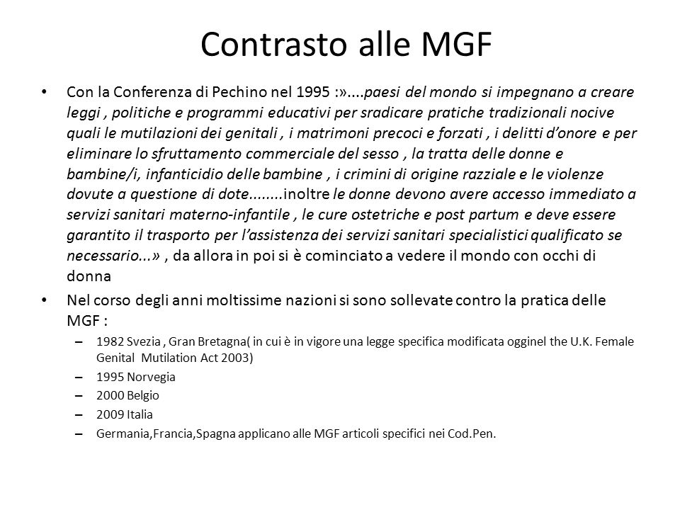 Contrasto alle MGF