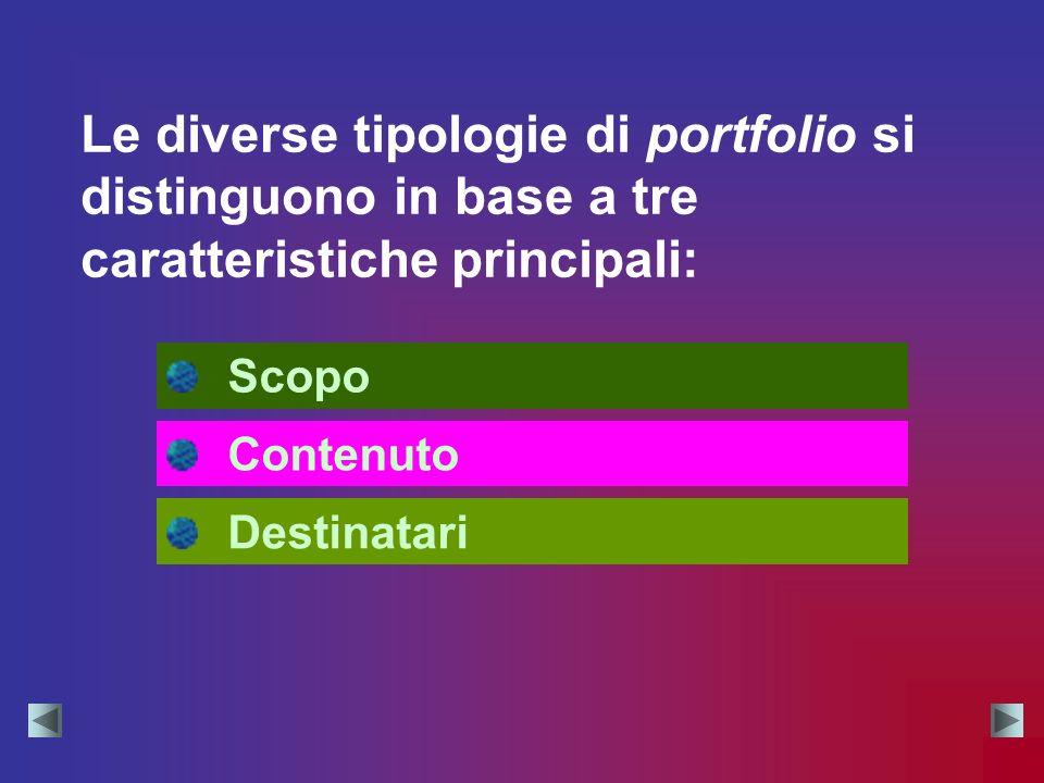 Le diverse tipologie di portfolio si distinguono in base a tre caratteristiche principali: