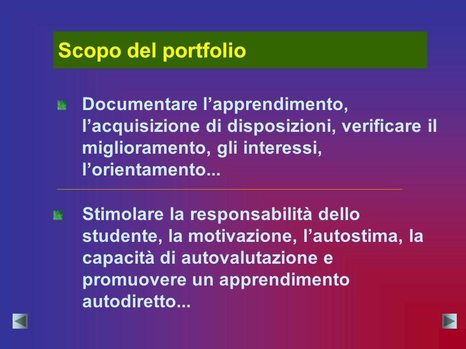 Scopo del portfolio Documentare l'apprendimento, l'acquisizione di disposizioni, verificare il miglioramento, gli interessi, l'orientamento...
