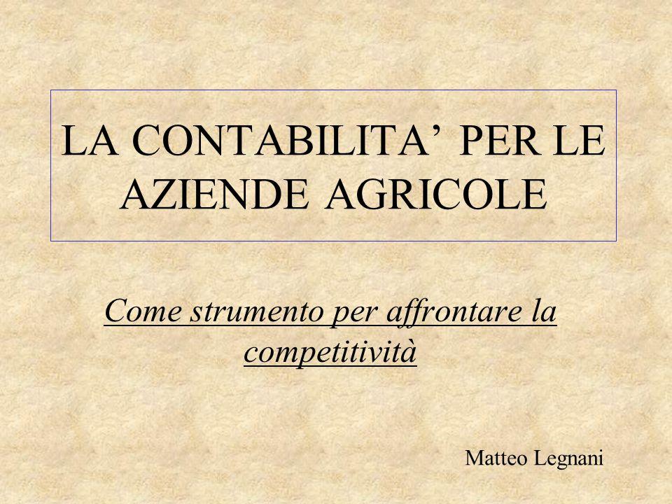 LA CONTABILITA' PER LE AZIENDE AGRICOLE