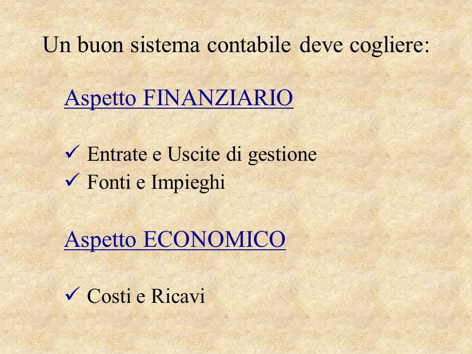 Un buon sistema contabile deve cogliere: