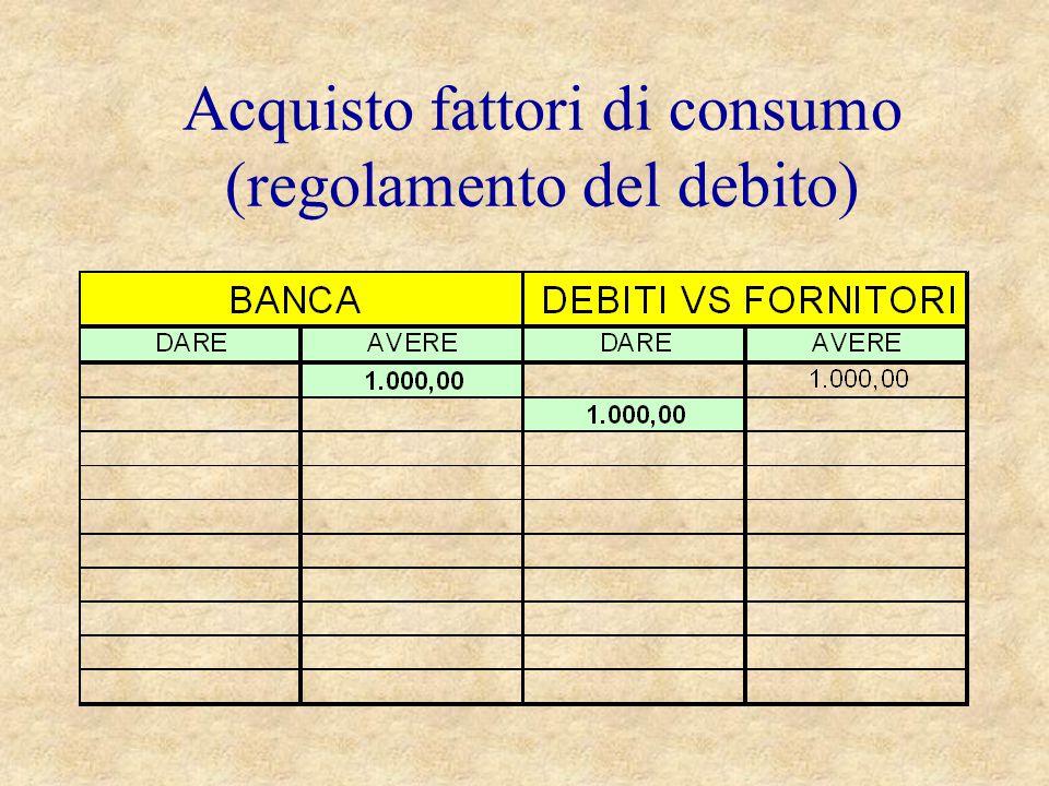 Acquisto fattori di consumo (regolamento del debito)
