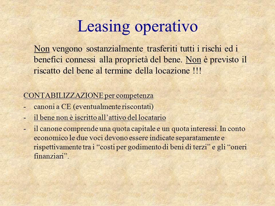 Leasing operativo CONTABILIZZAZIONE per competenza