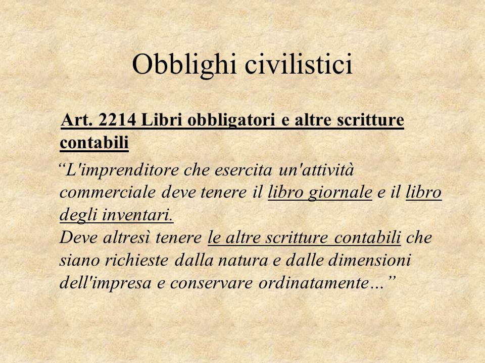 Obblighi civilistici Art. 2214 Libri obbligatori e altre scritture contabili.