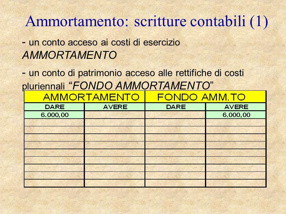 Ammortamento: scritture contabili (1)