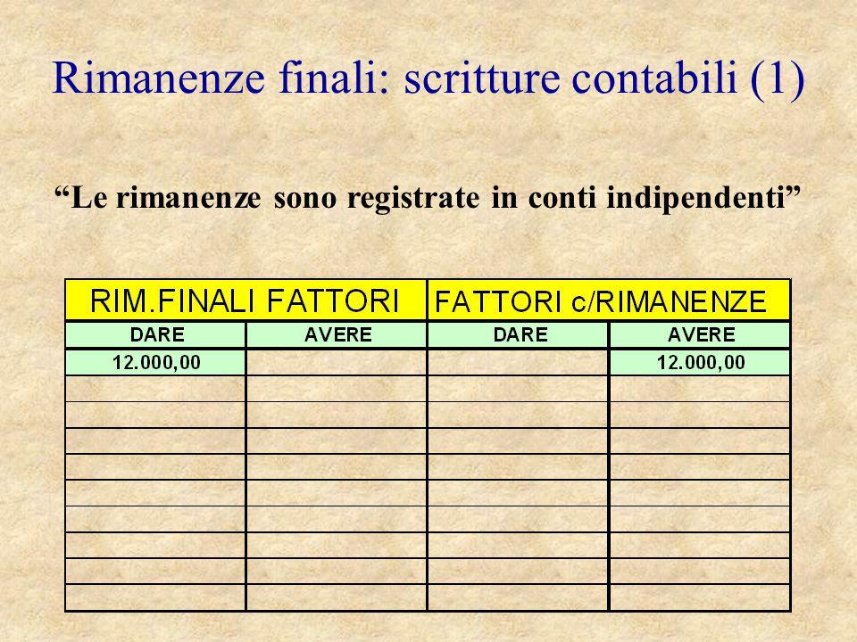 Rimanenze finali: scritture contabili (1)