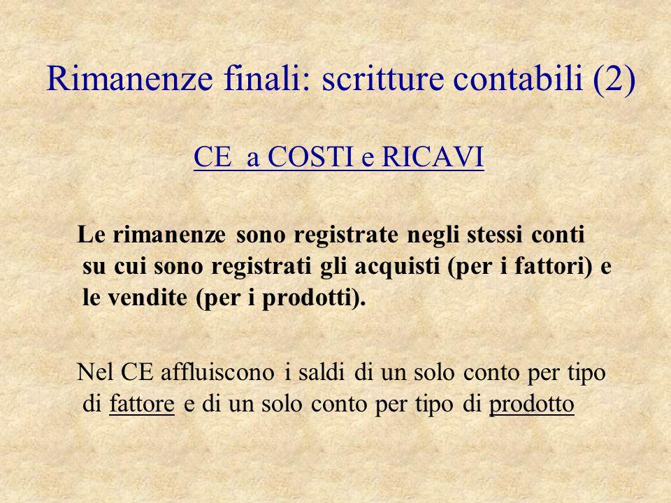 Rimanenze finali: scritture contabili (2)