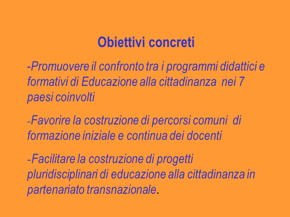 Obiettivi concreti -Promuovere il confronto tra i programmi didattici e formativi di Educazione alla cittadinanza nei 7 paesi coinvolti.