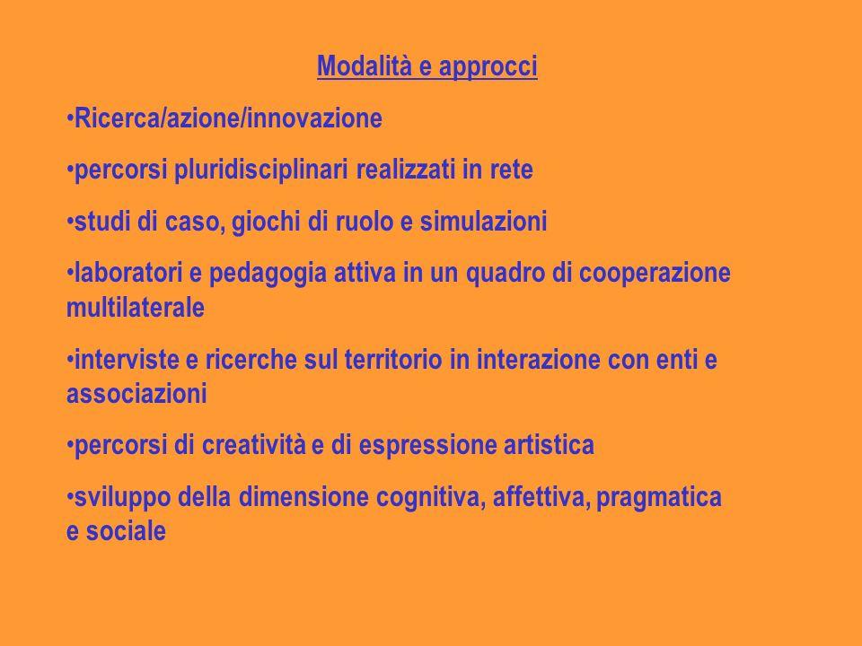 Modalità e approcci Ricerca/azione/innovazione. percorsi pluridisciplinari realizzati in rete. studi di caso, giochi di ruolo e simulazioni.