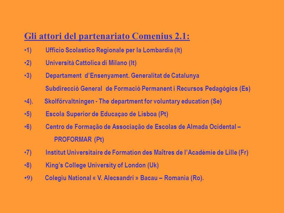 Gli attori del partenariato Comenius 2.1: