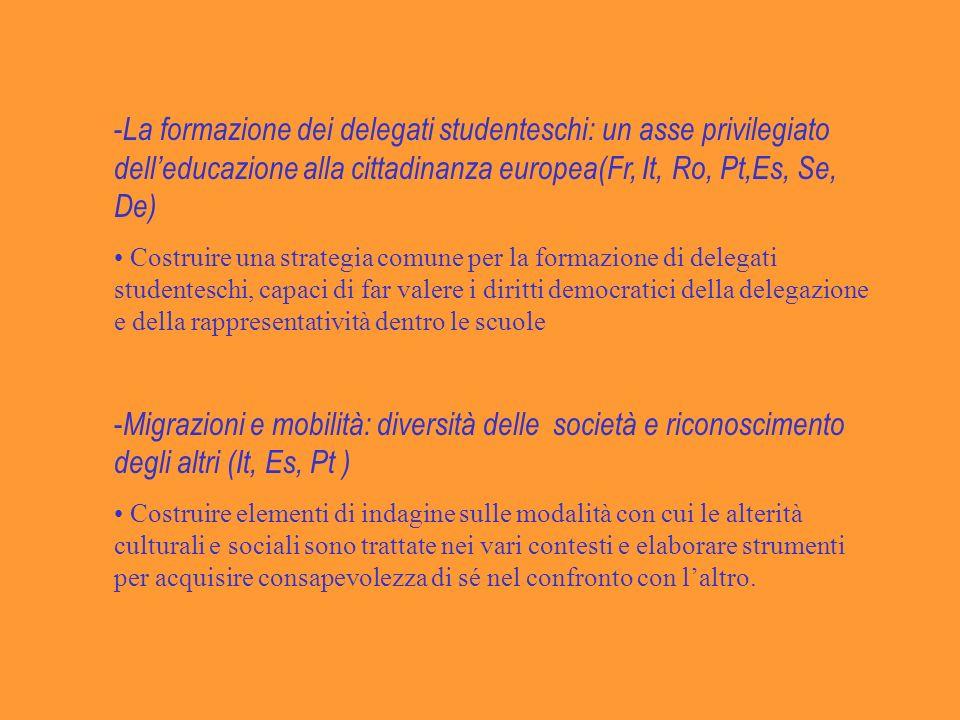 La formazione dei delegati studenteschi: un asse privilegiato dell'educazione alla cittadinanza europea(Fr, It, Ro, Pt,Es, Se, De)