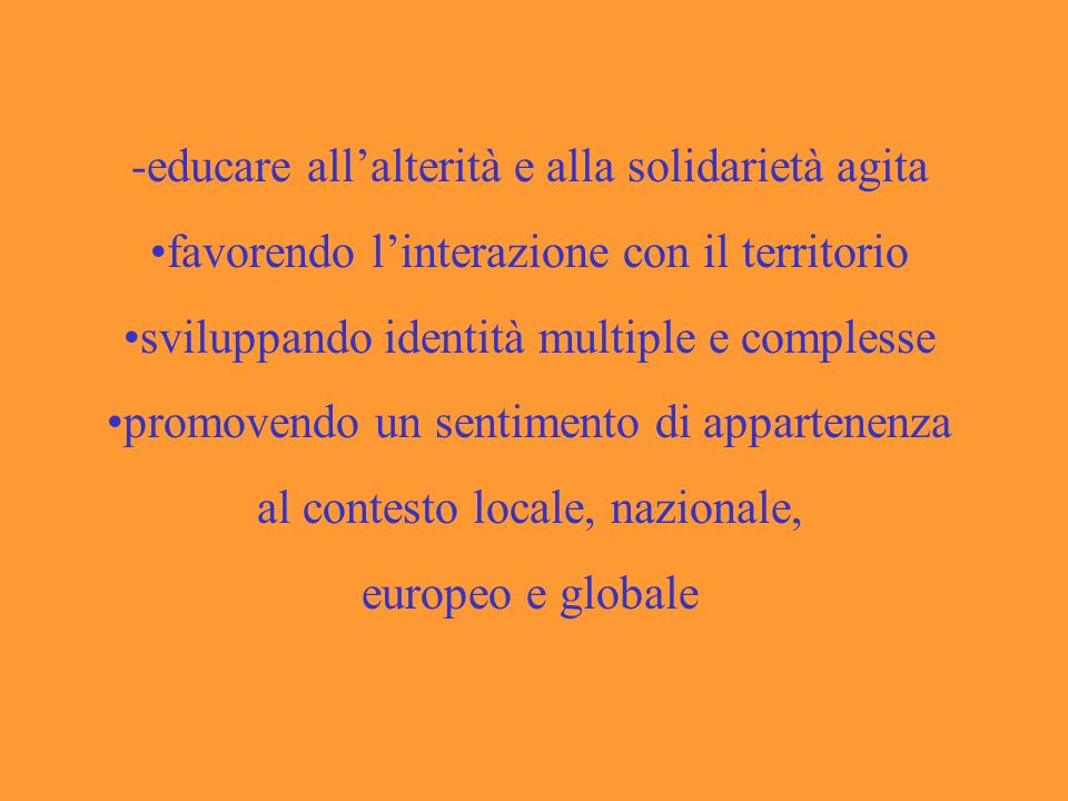 -educare all'alterità e alla solidarietà agita