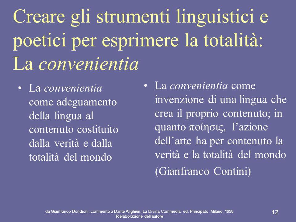 Creare gli strumenti linguistici e poetici per esprimere la totalità: La convenientia