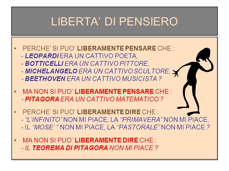 LIBERTA' DI PENSIERO PERCHE' SI PUO' LIBERAMENTE PENSARE CHE :