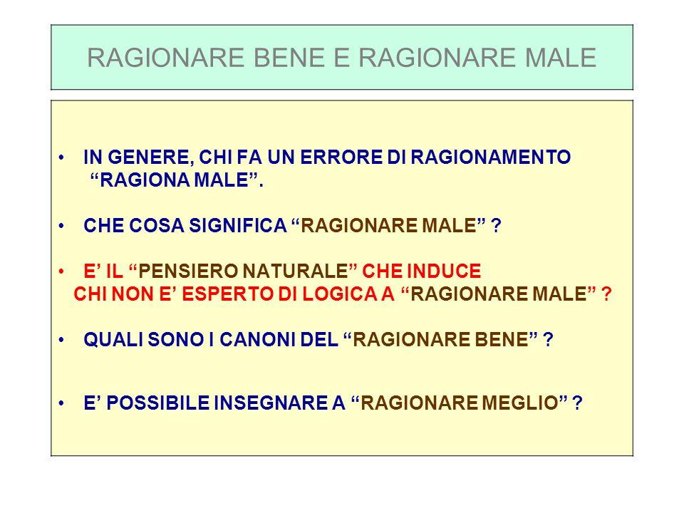 RAGIONARE BENE E RAGIONARE MALE