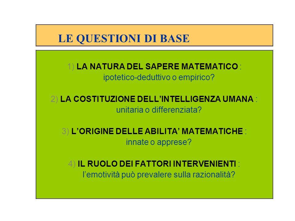 LE QUESTIONI DI BASE 1) LA NATURA DEL SAPERE MATEMATICO :
