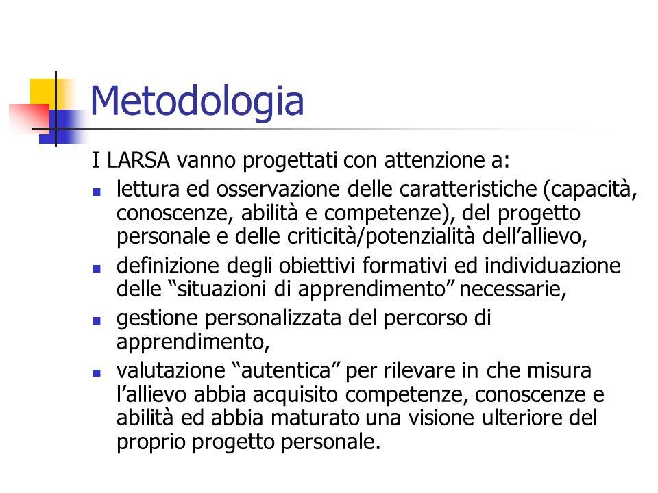 Metodologia I LARSA vanno progettati con attenzione a: