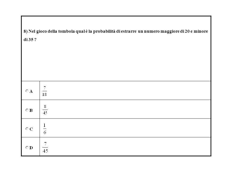8) Nel gioco della tombola qual è la probabilità di estrarre un numero maggiore di 20 e minore di 35