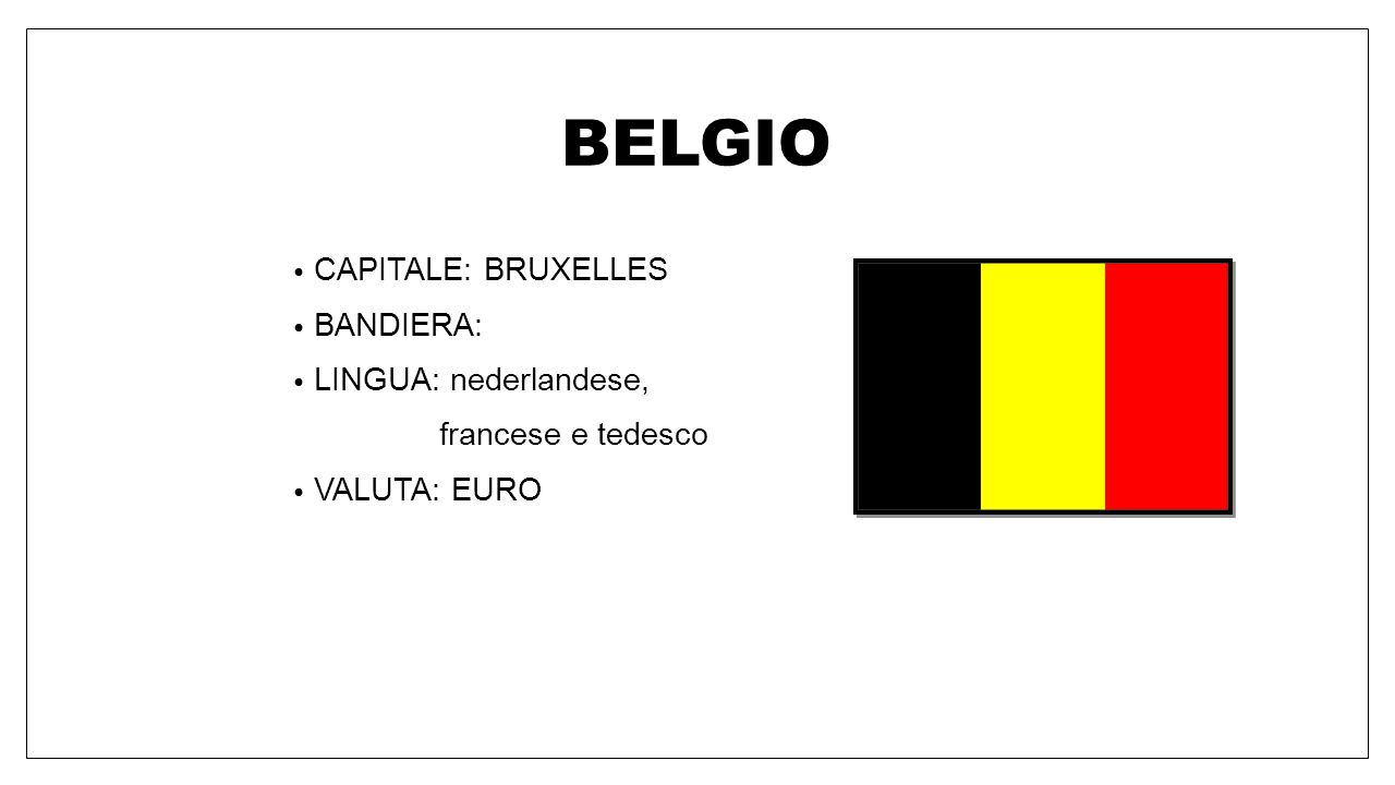 BELGIO CAPITALE: BRUXELLES BANDIERA: LINGUA: nederlandese,