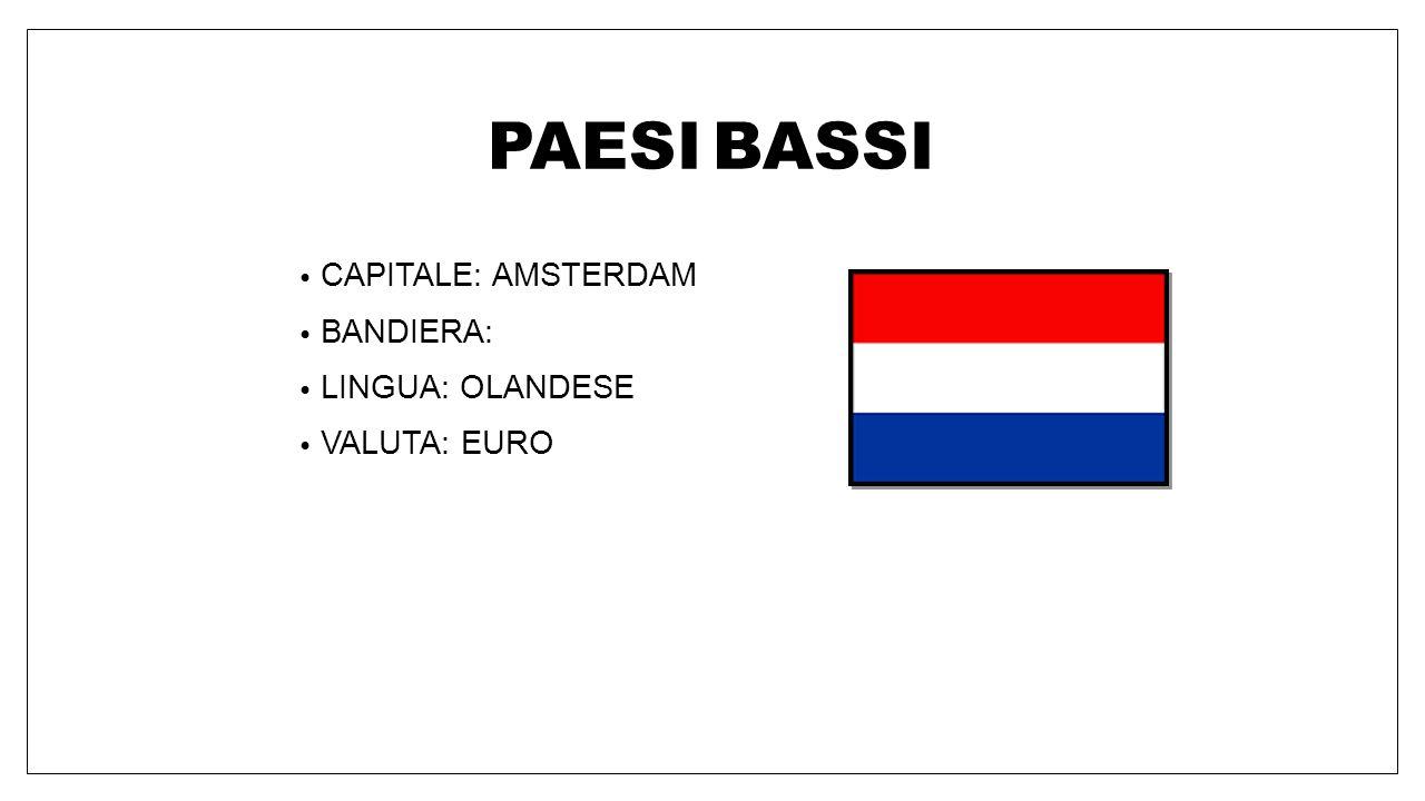 PAESI BASSI CAPITALE: AMSTERDAM BANDIERA: LINGUA: OLANDESE