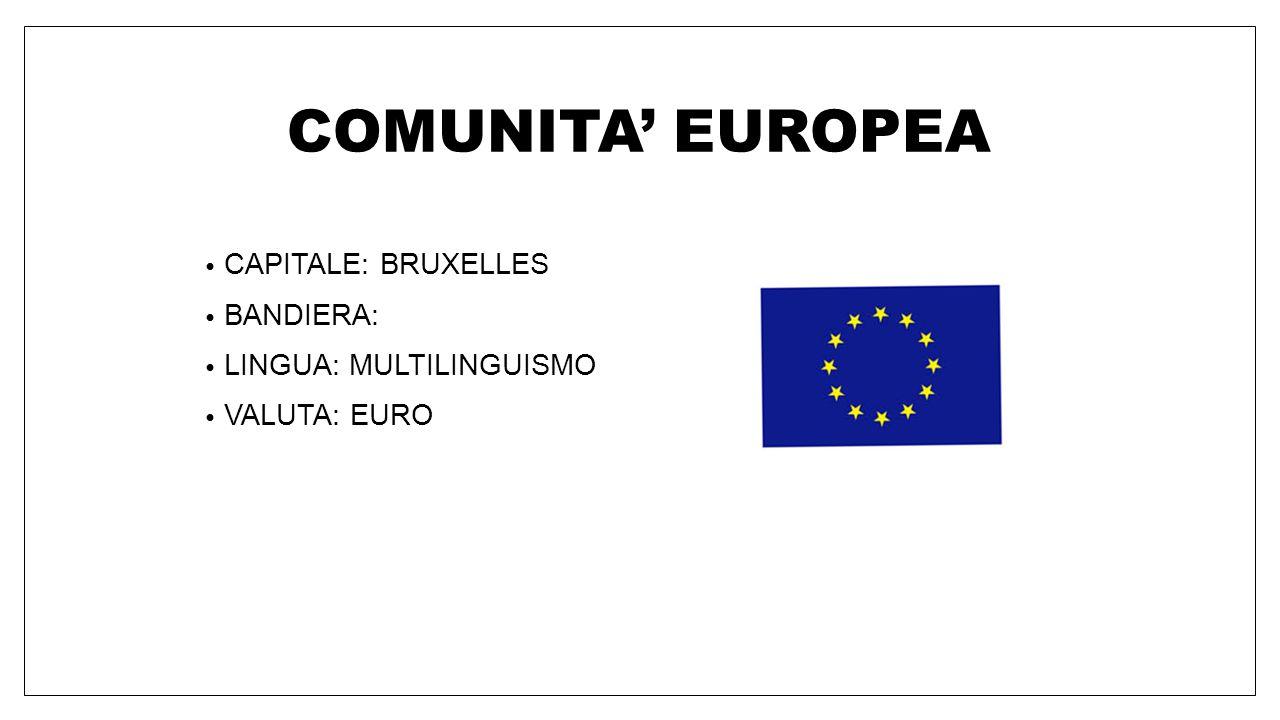 COMUNITA' EUROPEA CAPITALE: BRUXELLES BANDIERA: LINGUA: MULTILINGUISMO