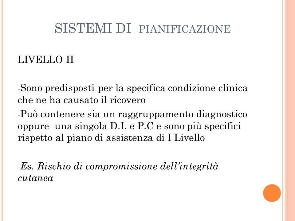 LIVELLO II Sono predisposti per la specifica condizione clinica che ne ha causato il ricovero.