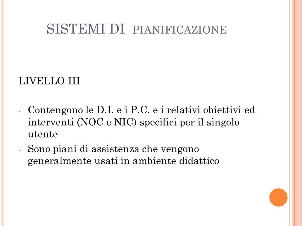 LIVELLO III Contengono le D.I. e i P.C. e i relativi obiettivi ed interventi (NOC e NIC) specifici per il singolo utente.